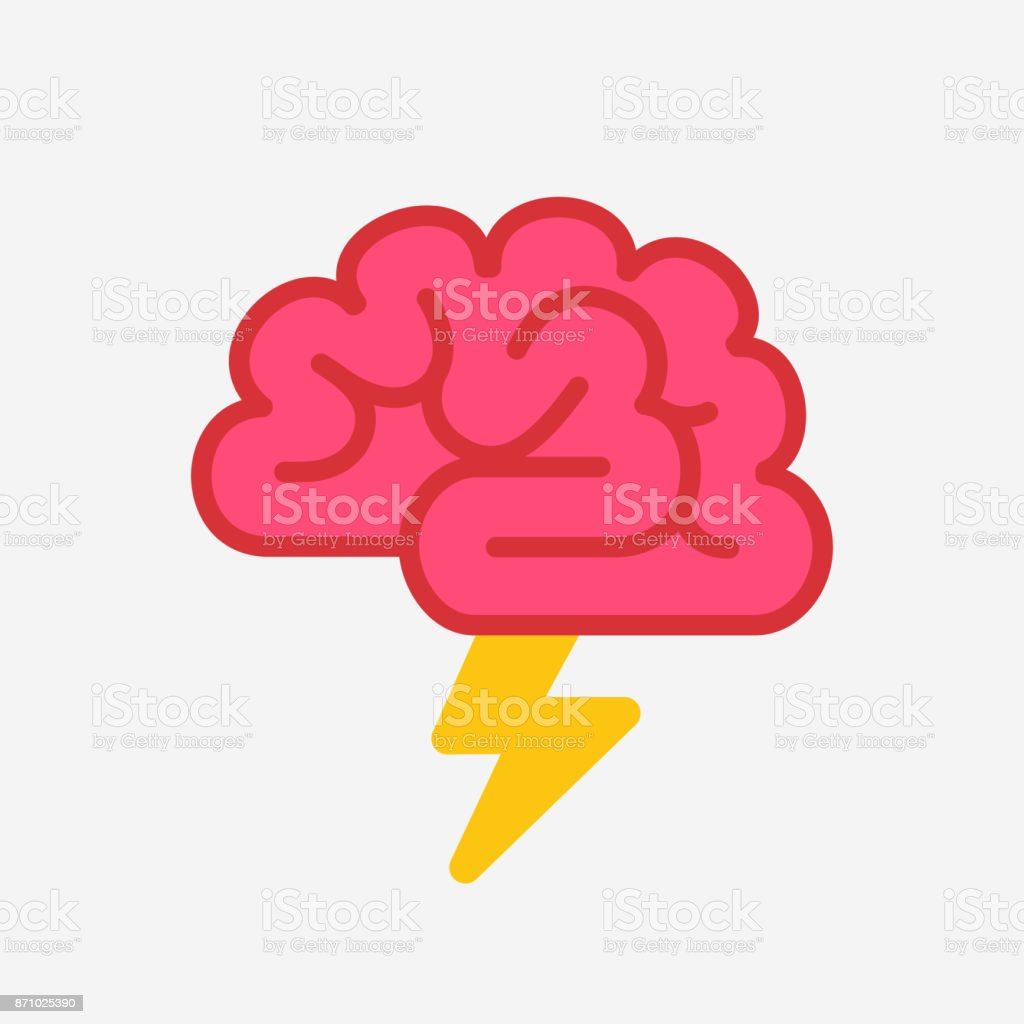 Brain with lightning brainstorm concept vector art illustration