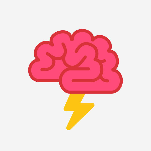 Brain with lightning brainstorm concept Brain like cloud with lightning, brainstorm, power of mind concept brain stock illustrations