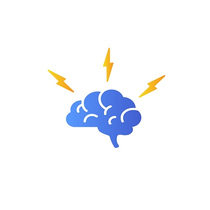 Brain with lightning, brainstorming vector icon vector icon