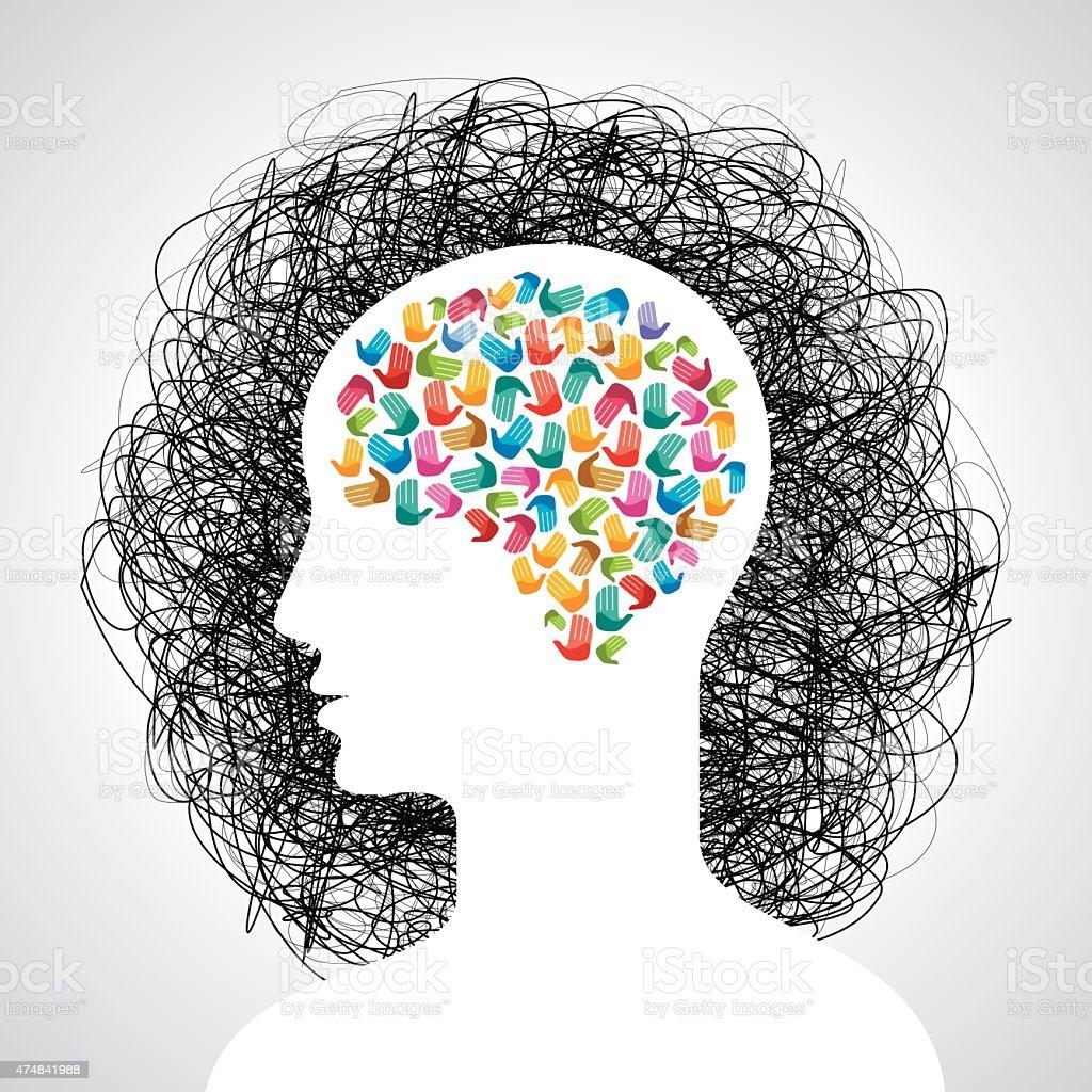 Brain With Many Hands Creative Idea Stock Vector Art