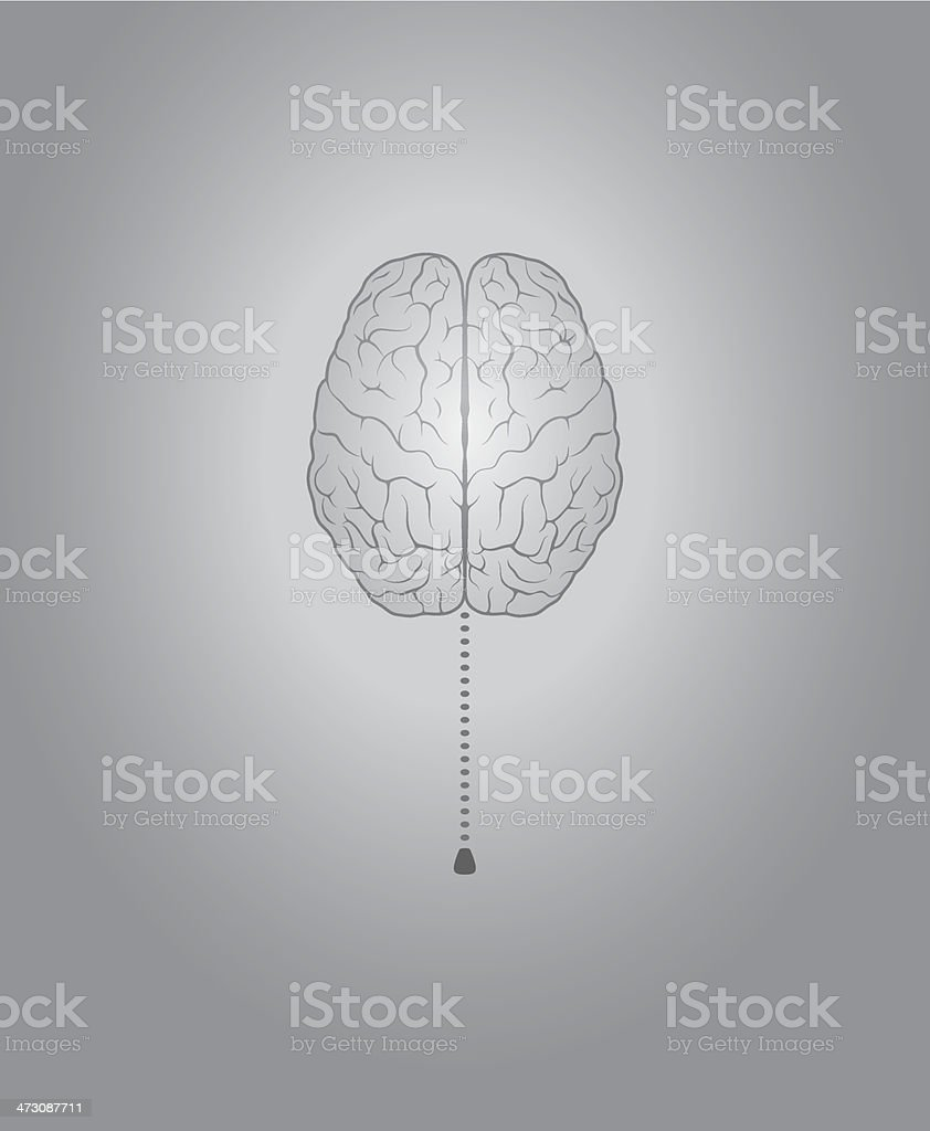 Brain with switch vector art illustration