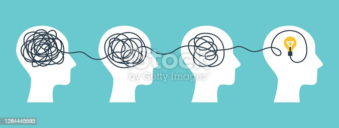 Concept of psychotherapy, brainstorming and mental problem solving. Vector illustration. Brain with tangled knot and order in man head. Simplifying the complex path. Light bulb idea and scribbles.