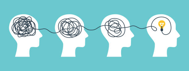 Brain with tangled knot Concept of psychotherapy, brainstorming and mental problem solving. Vector illustration. Brain with tangled knot and order in man head. Simplifying the complex path. Light bulb idea and scribbles. learning stock illustrations
