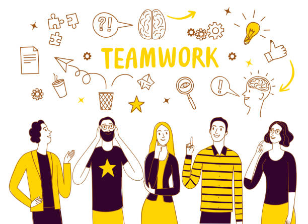 Brainstorm and teamwork doodle illustration with people People talking and thinking together. Including doodle elements. Brainstorm and teamwork doodle illustration for your design. brainstorming stock illustrations