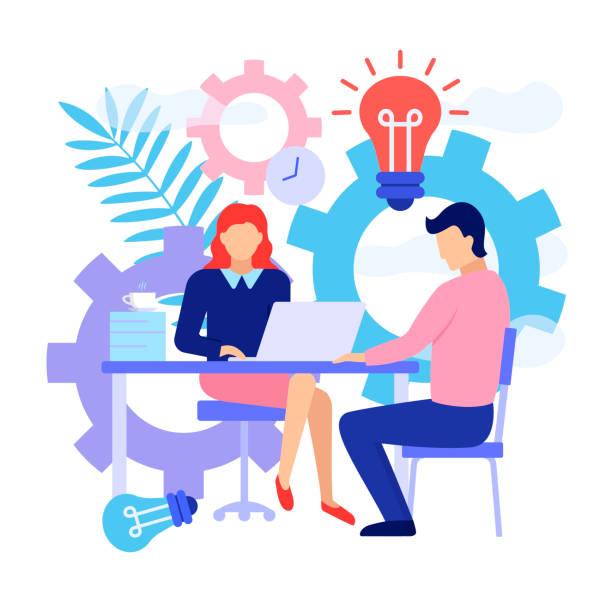 Brainstorm-Konzept. Flache Design der Job-Interview. – Vektorgrafik