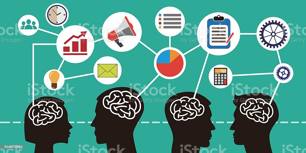 Brainstorm concept. Mind map. Creative Think vector art illustration