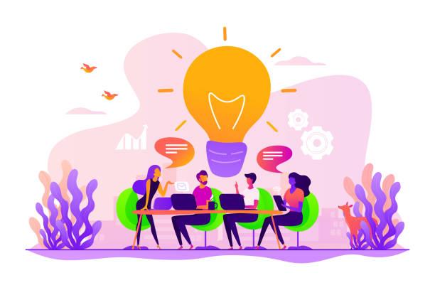 ilustrações, clipart, desenhos animados e ícones de ilustração do vetor do conceito do brainstorm - startup