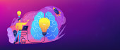 A man in workplace with laptop, big light bulb, rocket and human brain. Idea, start up launching, business success, brainstorm concept, violet palette. Header or footer banner template.