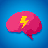 Vector illustration of a brain with lightning bolt against a blue background in flat style.