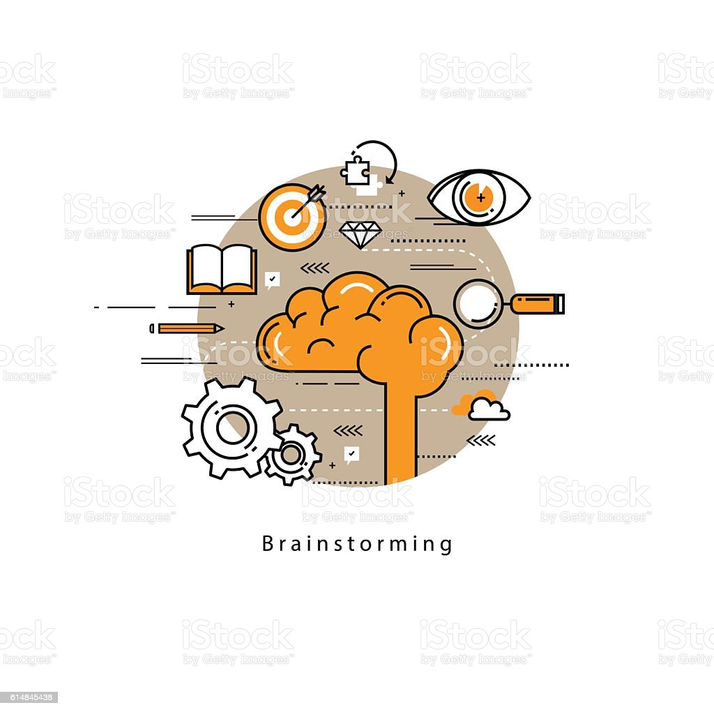 Brainstorming and analysis flat line business vector illustration design banner vector art illustration