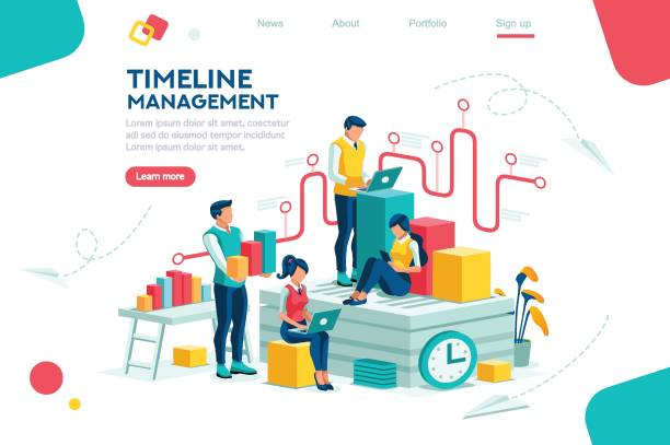 Brainstorming and Analytics Document management, team thinking, brainstorming analytics information about company. Clock always at office. Around infographic flying presentation history timeline concept. Flat isometric character sales occupation stock illustrations