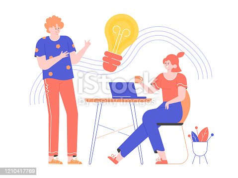 Brainstorming and generating ideas. Work in a creative team. Girl is sitting at the desk with a laptop. The guy is standing nearby. Light bulb icon. Discussion of the project. Vector flat illustration
