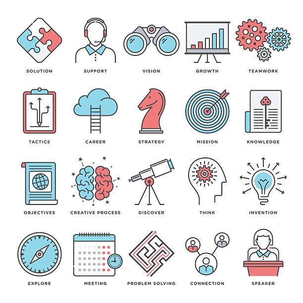 illustrations, cliparts, dessins animés et icônes de icônes de brainstorming et de productivité - calendrier de l'avant