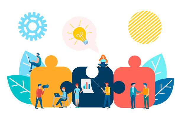stockillustraties, clipart, cartoons en iconen met brainstormen, business meetings en partnership concept. - medewerkerbetrokkenheid