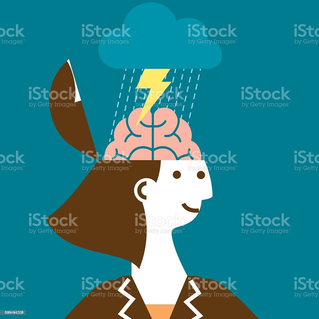 Brainstorming Businesswoman | New Business Concept vector art illustration