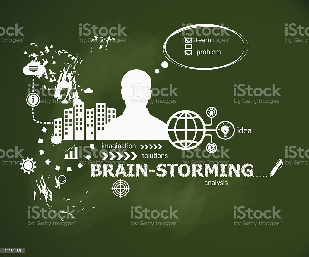 Brain-storming concept and man. Typographic poster. vector art illustration