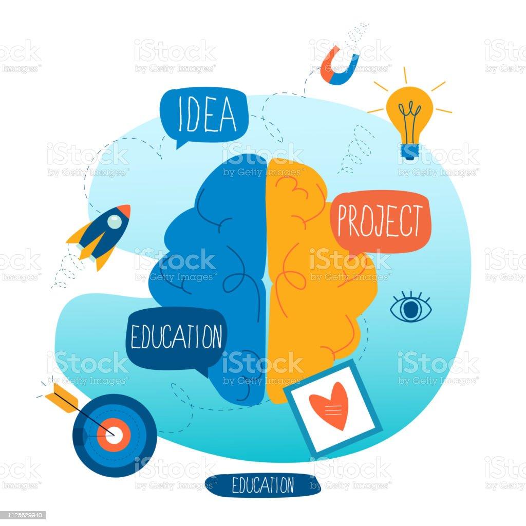 Brainstorming, creative thinking and analysis vector art illustration