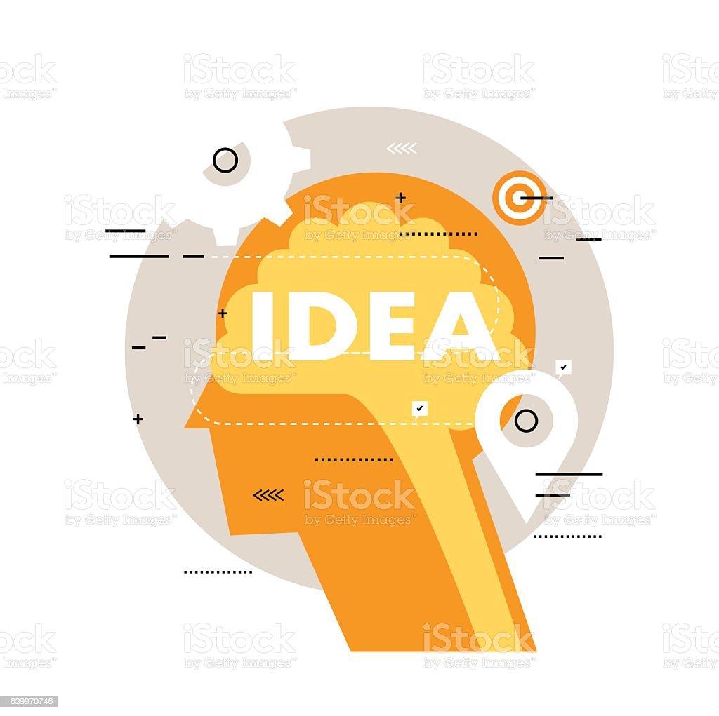 Brainstorming flat line business vector illustration design banner vector art illustration