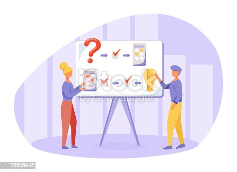 Brainstorming flat vector illustration. Logical thinking principles. Presentation. People discuss project. Boss and employee searching solution, generating idea. Reasoning colleagues cartoon character