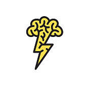Brain with lightning. Files included: Vector EPS 10, HD JPEG 4000 x 4000 px