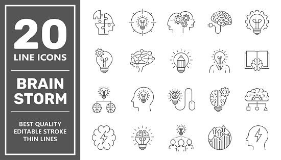 Brainstorming Line Icons Set. Brain, Creativity, Novel Idea. Editable Stroke.