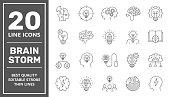 Brainstorming Line Icons Set. Brain, Creativity, Novel Idea. Editable Stroke. EPS 10