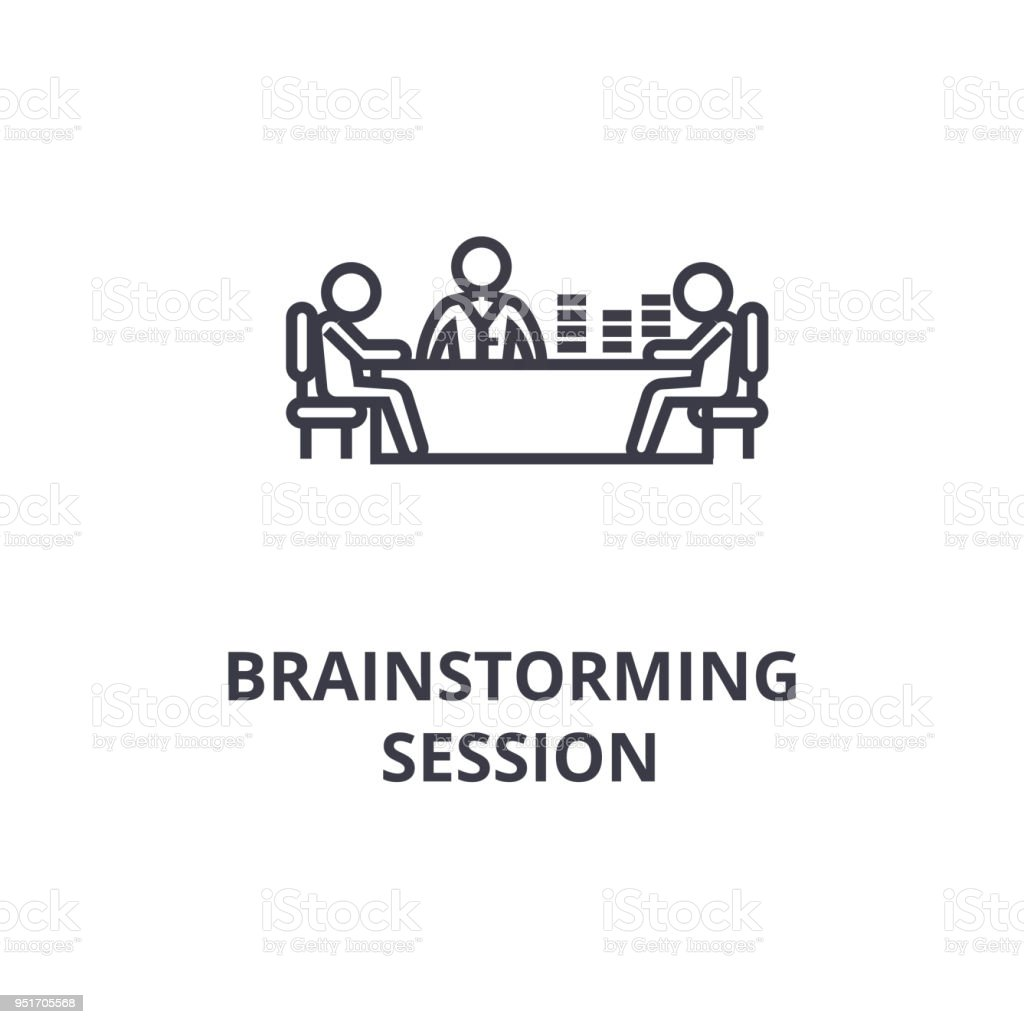 brainstorming session thin line icon sign symbol illustation linear