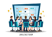 Brainstorming teamwork with business people discussion,conceptual vector illustration.
