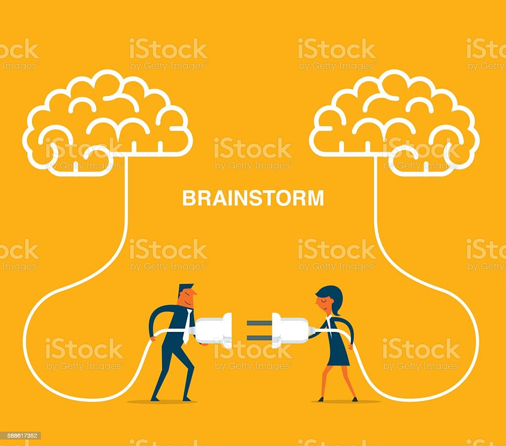Brainstorming vector art illustration