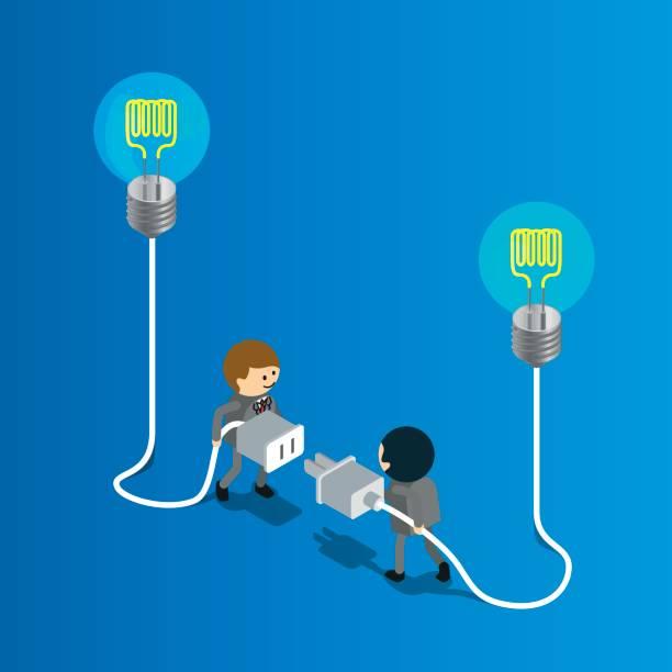 illustrations, cliparts, dessins animés et icônes de brainstorming  - rallonge électrique