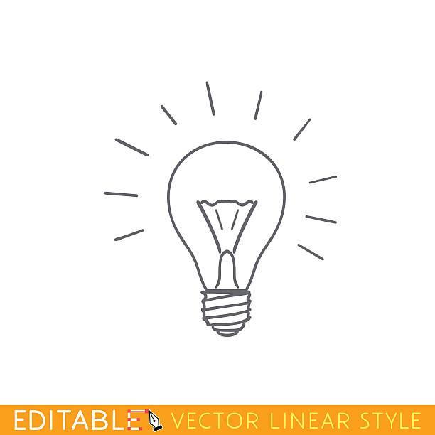 bildbanksillustrationer, clip art samt tecknat material och ikoner med brainwave lamp. outline sketch icon. - hand tänder ett ljus