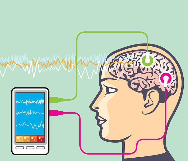 illustrazioni stock, clip art, cartoni animati e icone di tendenza di brainwave controllo vettoriale - elettrodo