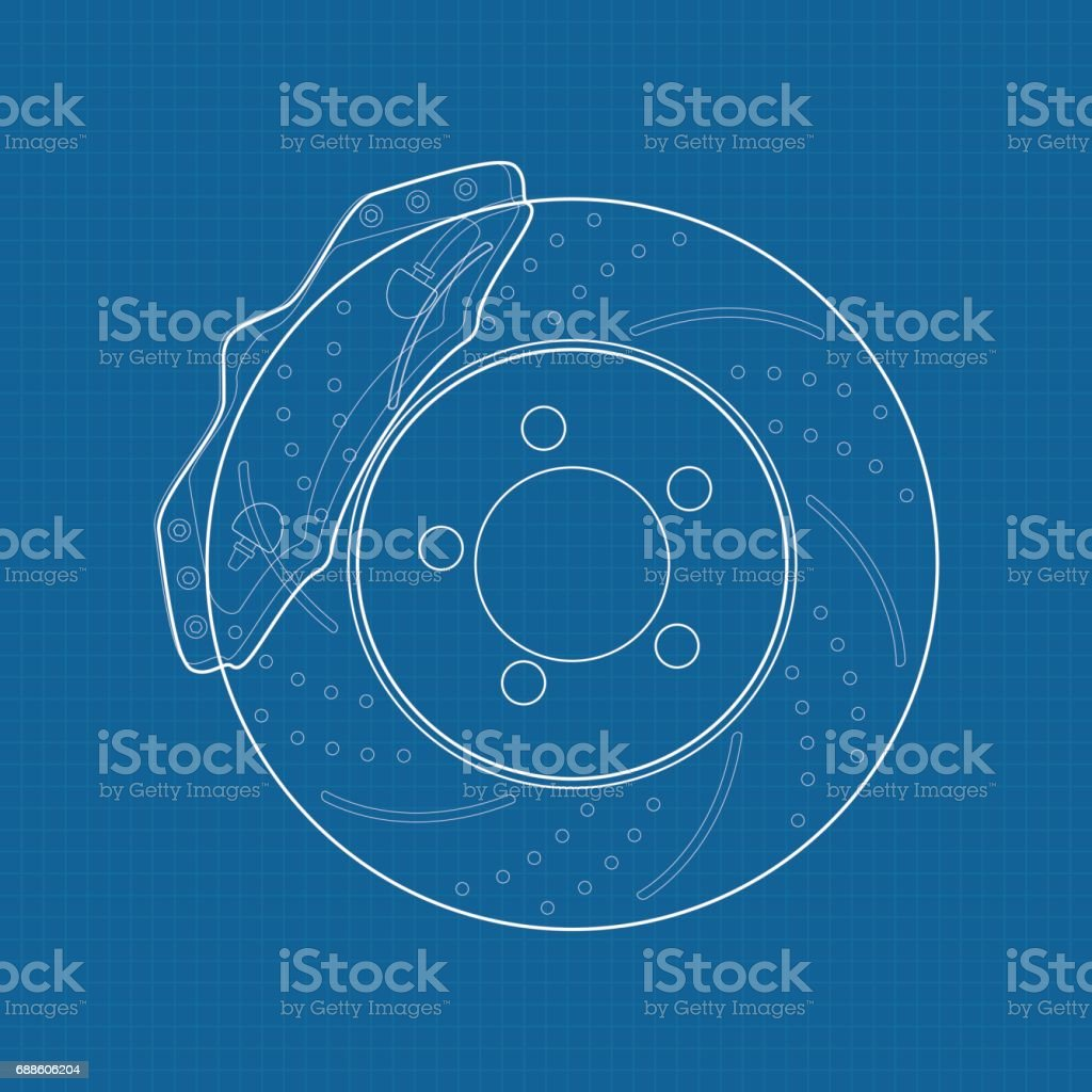 Brake disc icon.  illustration on Blueprint Background. vector art illustration