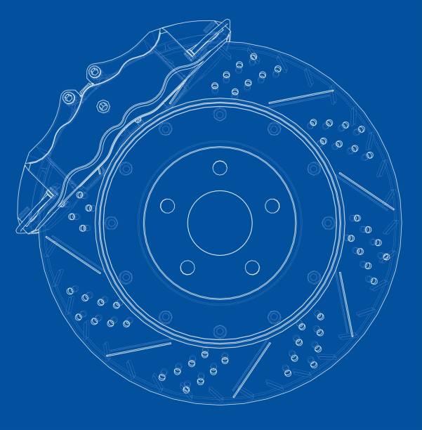 illustrazioni stock, clip art, cartoni animati e icone di tendenza di brake disc outline. vector rendering of 3d - close up auto