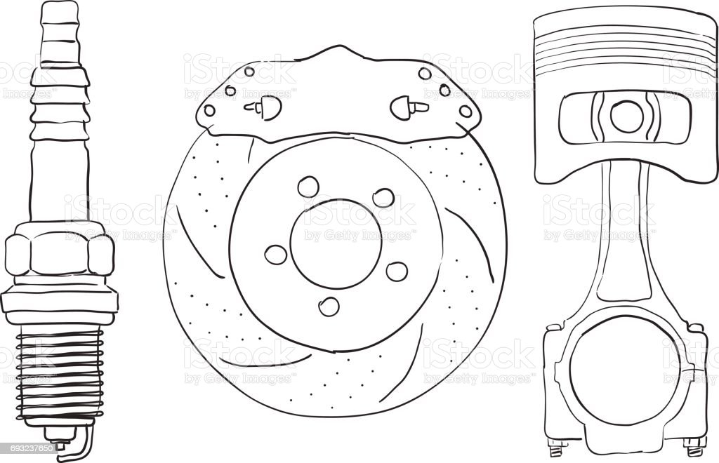 Brake disc,   Piston and Spark Plug. Sketch. vector art illustration