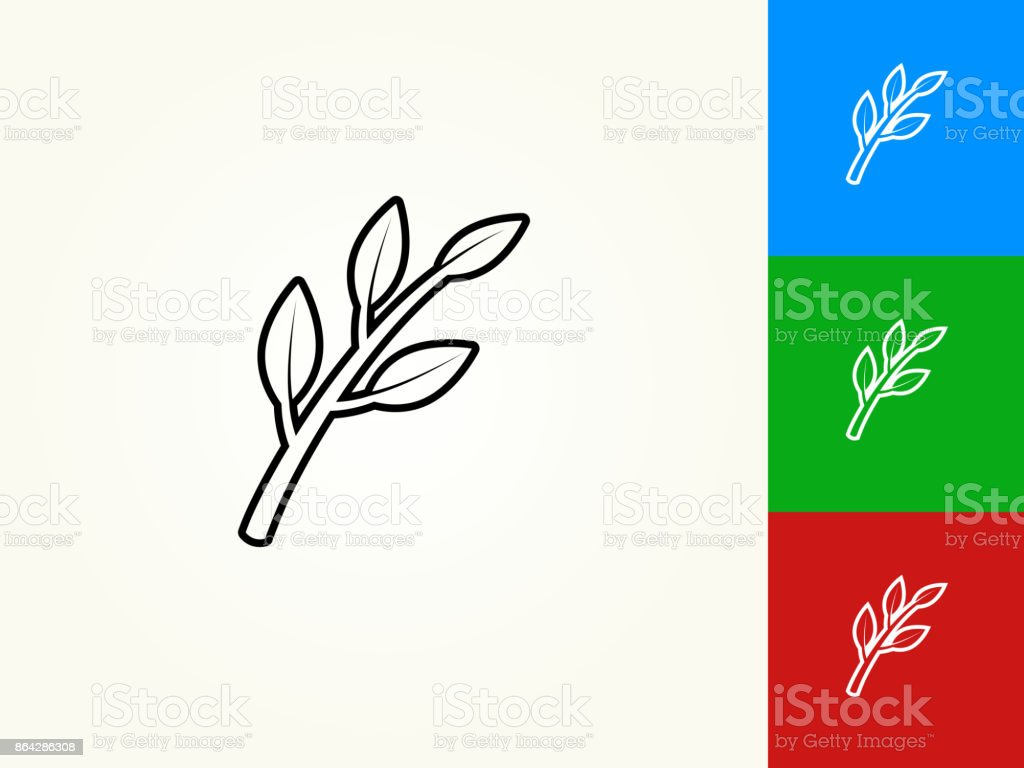 Branch and Leafs Black Stroke Linear Icon royalty-free branch and leafs black stroke linear icon stock vector art & more images of black color