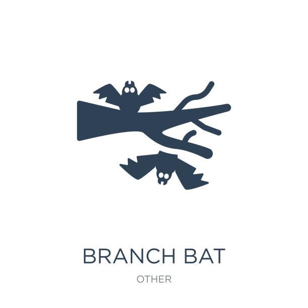 illustrations, cliparts, dessins animés et icônes de direction générale de la chauve-souris icône vecteur sur fond blanc, branche bat fi branché - cage animal nuit