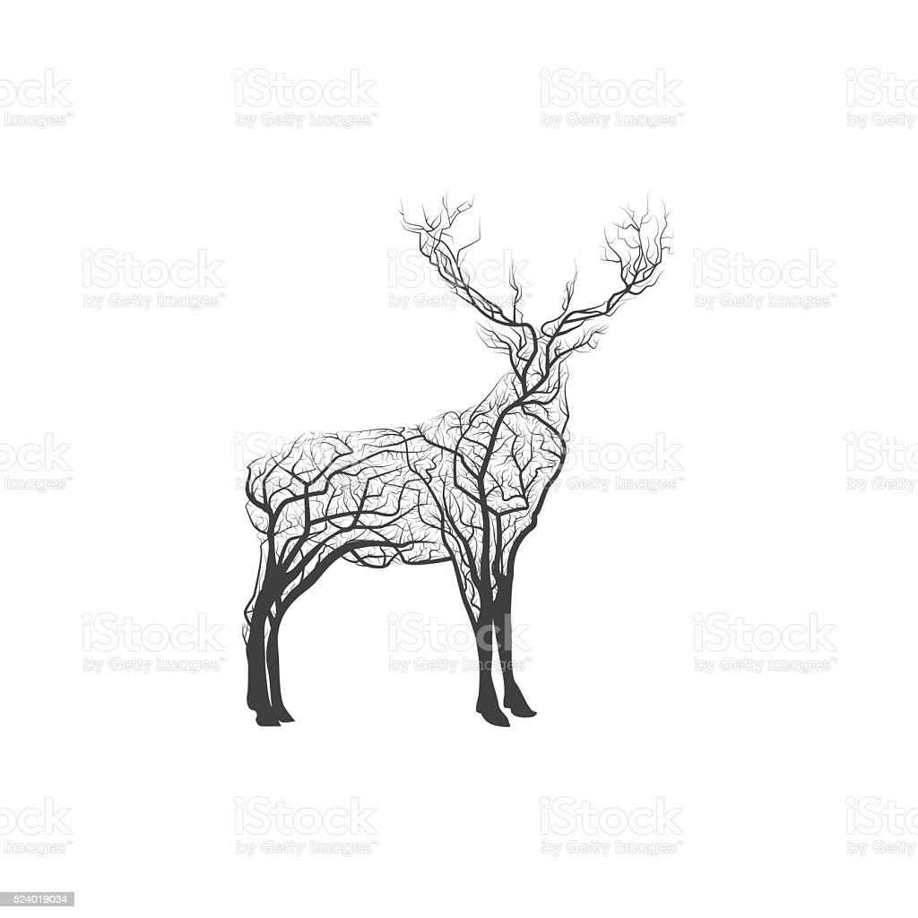 Branch Deer. Vector Illustration