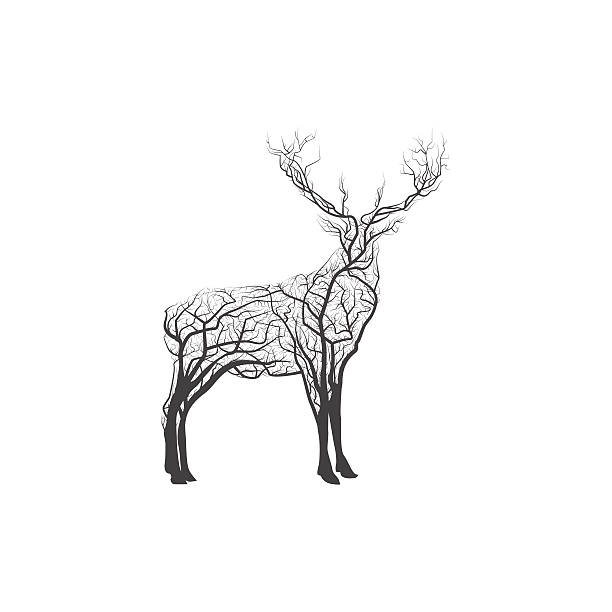 branch deer. vector illustration - deer antlers stock illustrations, clip art, cartoons, & icons