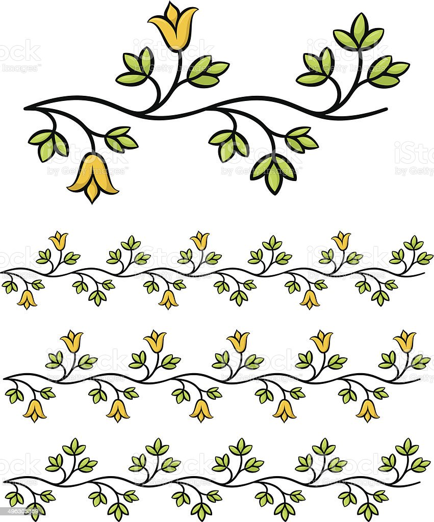 Branch flowers vector art illustration