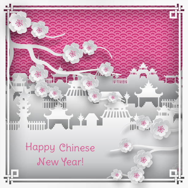 ilustrações de stock, clip art, desenhos animados e ícones de branch of cherry blossoms and chinatown village on pink outdoor background with oriental vintage pattern frame for chinese new year greeting card, paper cut out style, vector - cherry blossoms