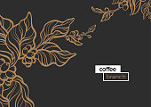 Template with gold branch of coffee tree, leaves and natural coffee beans Realistic organic product Silhouette, organic shape Botanical illustration. Vector design isolated on black background eps.10