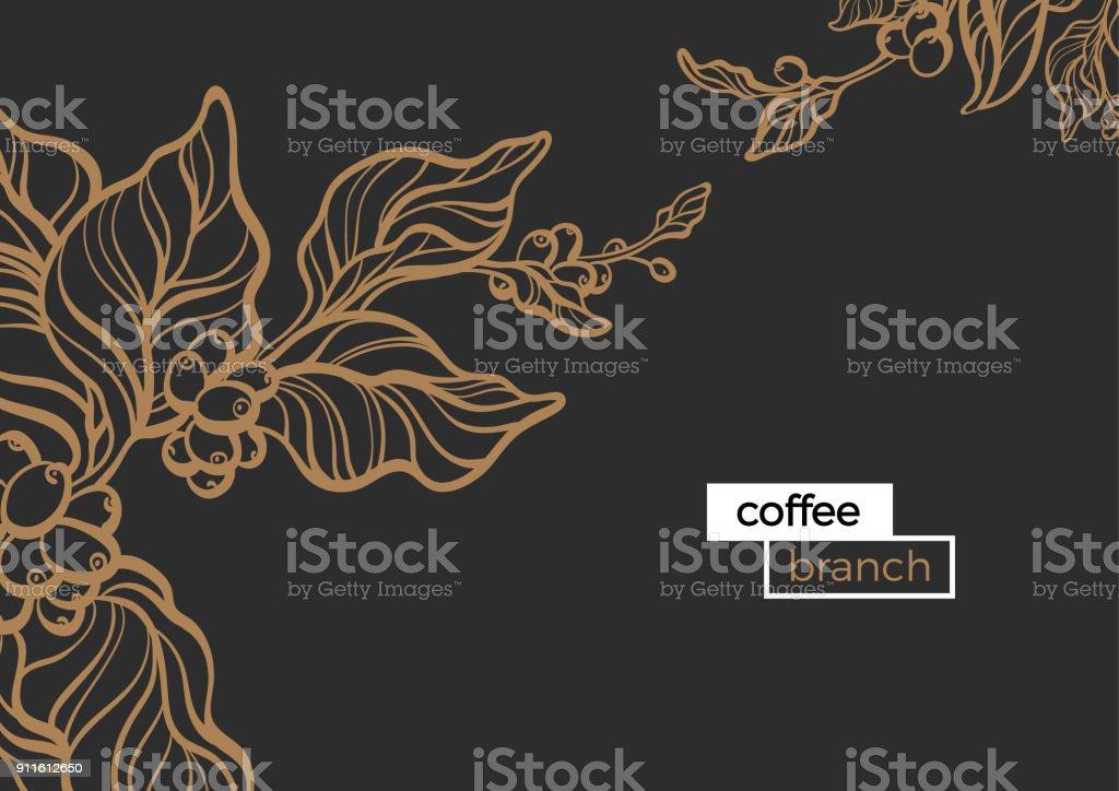 Branch of coffee. Vector template vector art illustration