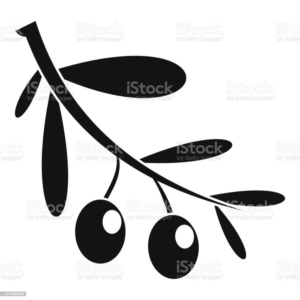 Branch of olives icon, simple style vector art illustration
