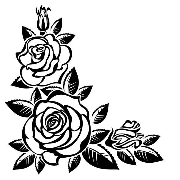 Tea Rose Clipart Black And White: Floral Border Black White Roses Clip Art Illustrations