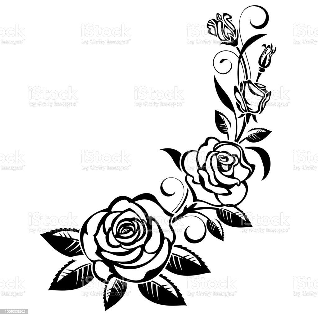 Black and White Rose Clip Art