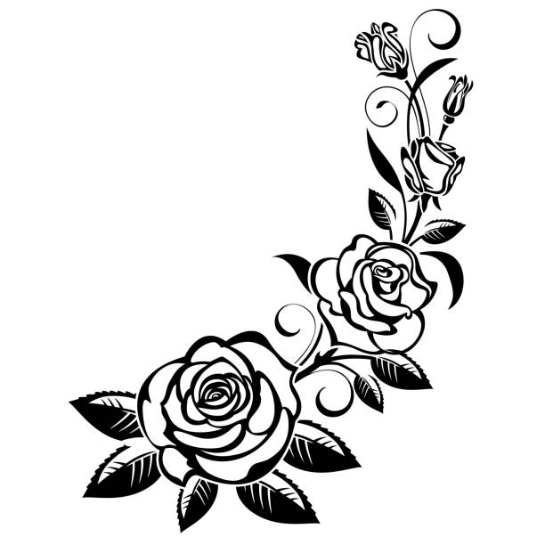 motif floral design decorative borders silhouette computer - black and white  flower silhouette clip art PNG image with transparent background | TOPpng