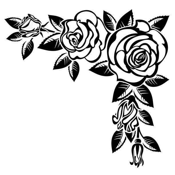 Floral Border Black White Roses Clip Art Illustrations, Royalty-Free Vector Graphics & Clip Art ...