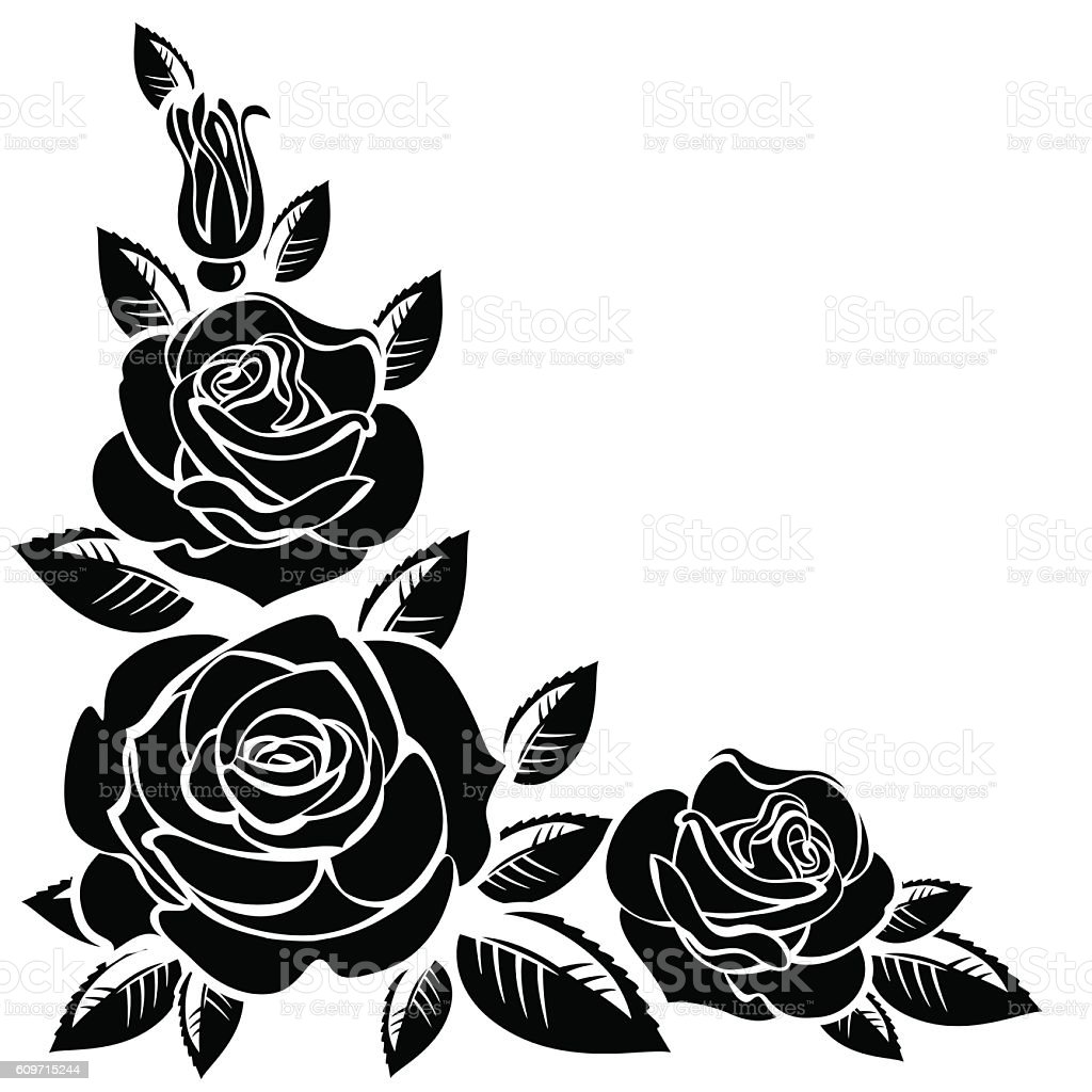 Branch Of Roses Stock Vector Art & More Images of Black ...