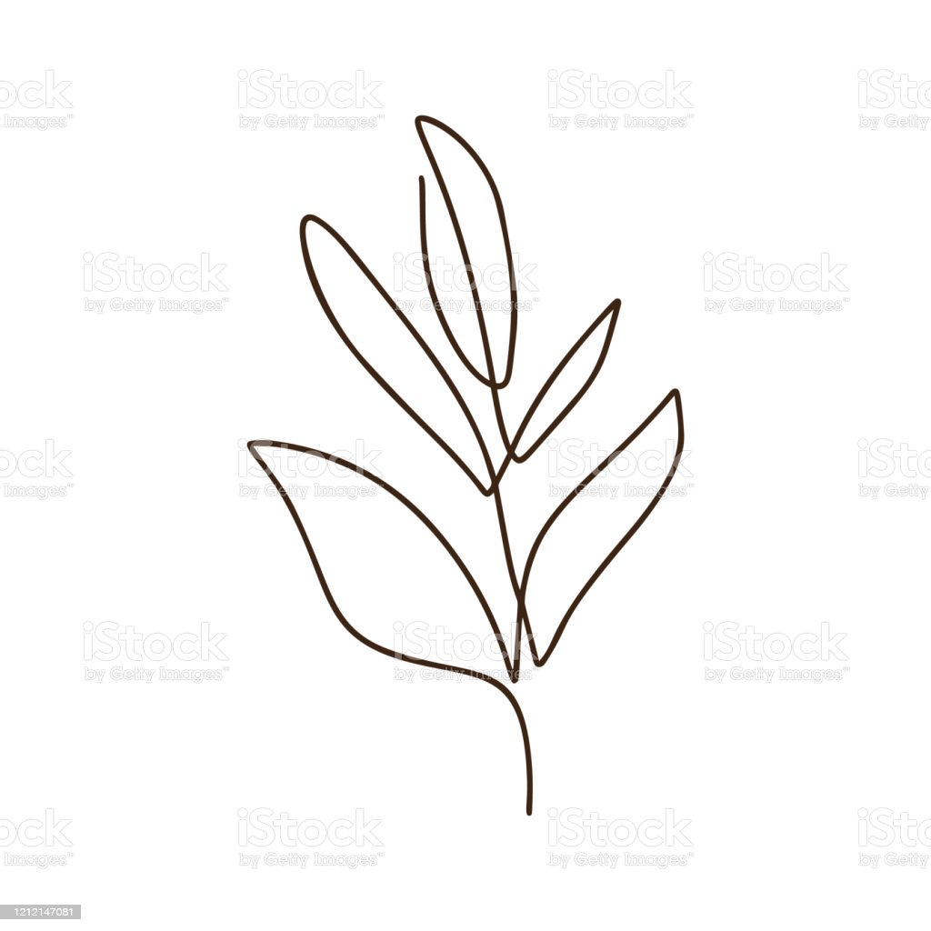Branch Of Tree Vector One Line Art Logo Minimalist Contour Drawing ...